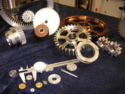A variety of custom spur gears